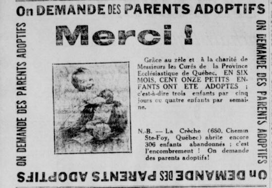 Enfants à adopter, annonce parue dans L'Action catholique, 31 mai 1924