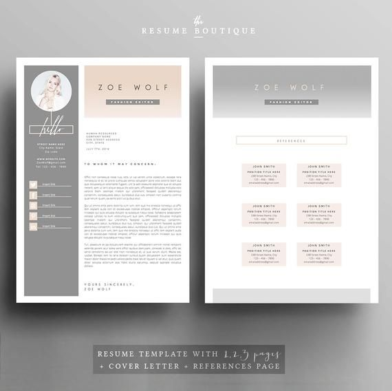 Resume Template And Cover Letter References Template For Word Diy Printable 5 Pages The Dolce Vita Professional Creative Design Modele Cv Lettre De Motivation Modeles De Lettres