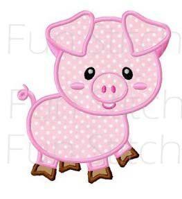 Farm pig applique machine embroidery design by FunStitch on Etsy, $2.89