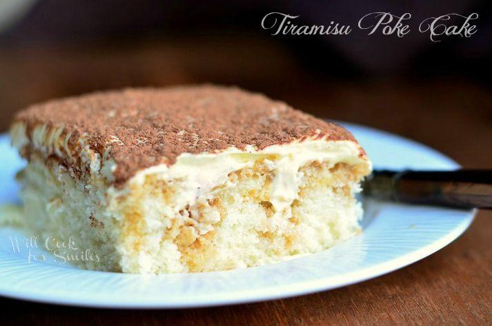 Tiramisu Poke Cake 5 © willcookforsmiles.com #cake #tiramisu #pokecake #whitecake