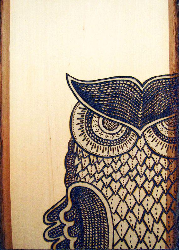 Owl wood burning http etsy listing