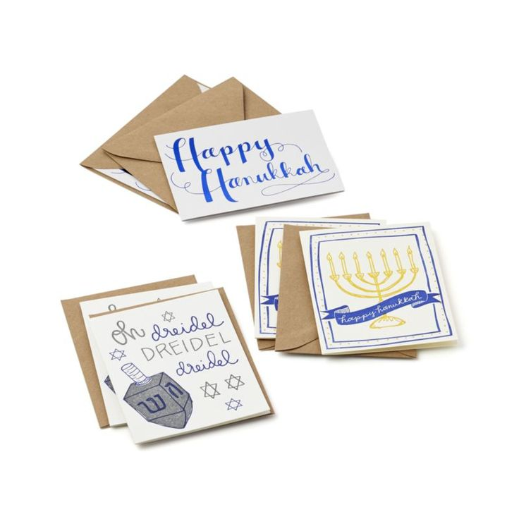 Printed on vintage letterpresses dating back to the 1800s, these charming cards feature Hanukkah-themed illustrations and greetings designed by 9th Letter Press of Winter Park, Florida. Handcrafted100% cotton paperSix cards and envelopesMade in USA.