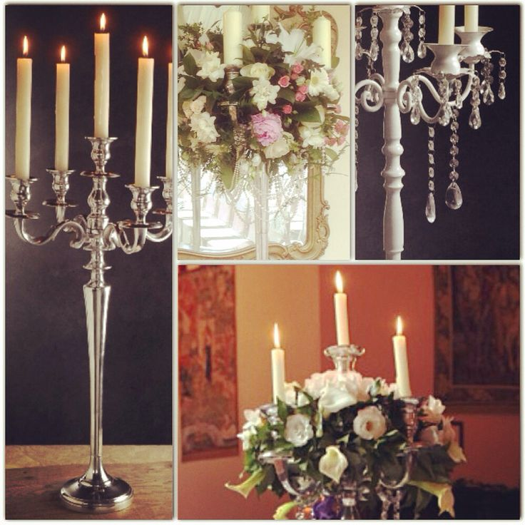 We hire gorgeous silver candelabra, beautiful on their own or with draped greenery, flowers and even some pearl strings.www.coastweddingcreations.com.au