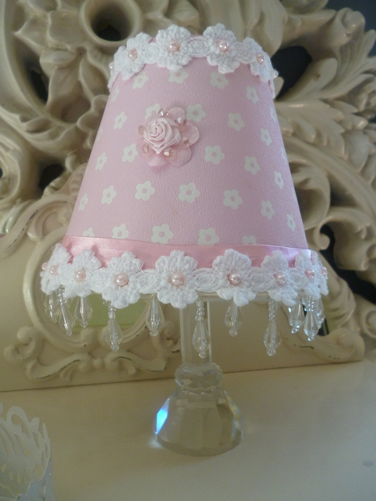 LAMPSHADE - Small Pink and White Cute Lampshade- Shabby Chic Daisy Flower Chandelier - Vintage Lampshade - Handcrafted by HomeChiqueHome. $27.00, via Etsy.