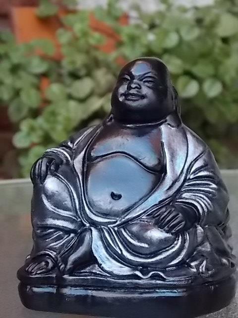 Buda Gordo #2 en peltre y negro - altura: 10 cm