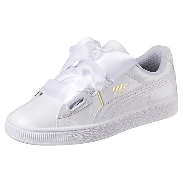 Puma Damen Basket Heart Patent Low Top Sneaker Schwarz Black 39 Eu