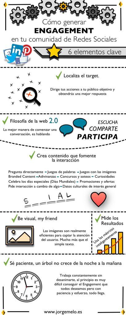 Cómo generar engagement en Redes Sociales #infografia #infographic #socialmedia