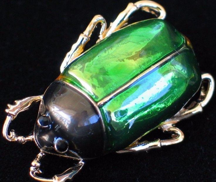 GREEN GOLD FLEA TICK INSECT LOCUS SCARAB JUNE BUG STAG BEETLE BROOCH JEWELRY 3D #Unbranded