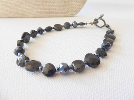 Black spinel bracelet Semi precious bracelet stone