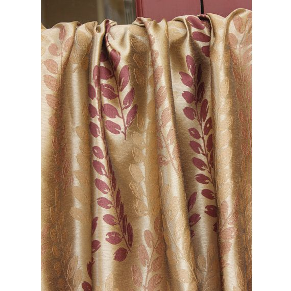 Fall Leaves Grommet Lined Curtain in Textured Jacquard Weave Fabric Decor and Housewares Window Treatment Drapes Panels ______________________________________________________________  This curtain is defined by a unique sheen and textured weave fabric. Our exclusive silk look Jacquard curtain fabrics are gorgeous and timeless.  Style of Curtain - Grommet Lining - Cotton Lined  Color - Brown, Beige & Rust Brick (Same as shown in the picture) Fabric Type - Poly Jacquard Weaved Fabric Fabric...