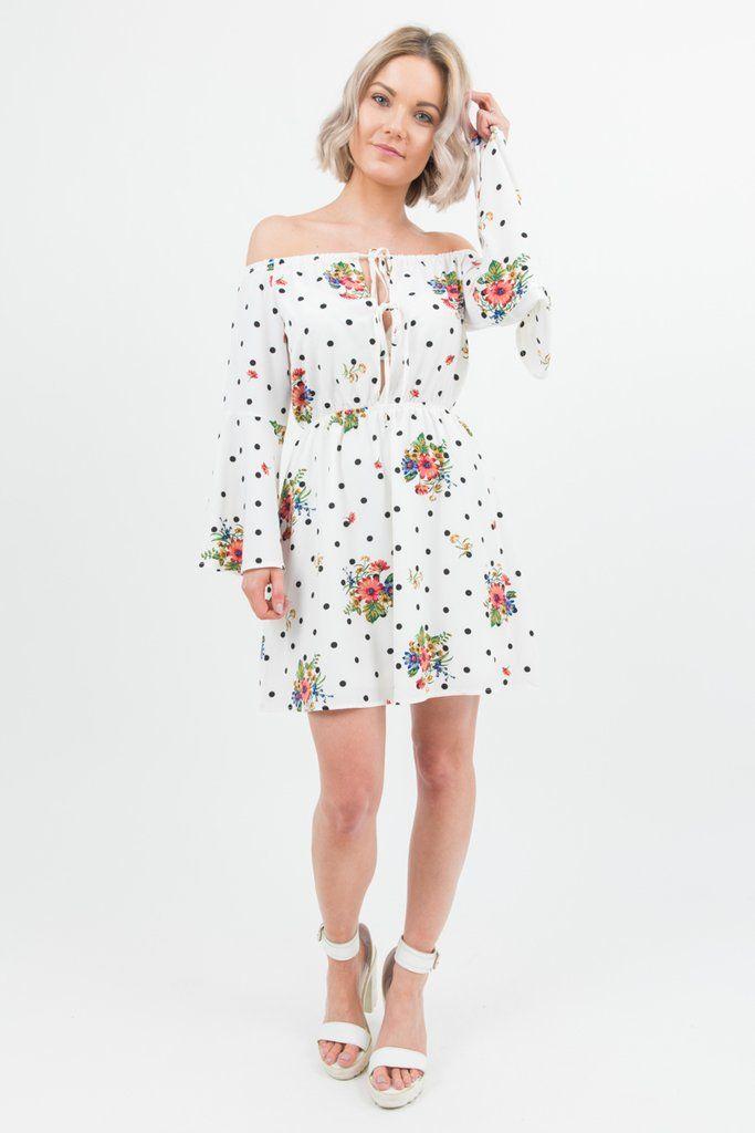 White Polka Dot Floral Bardot Dress