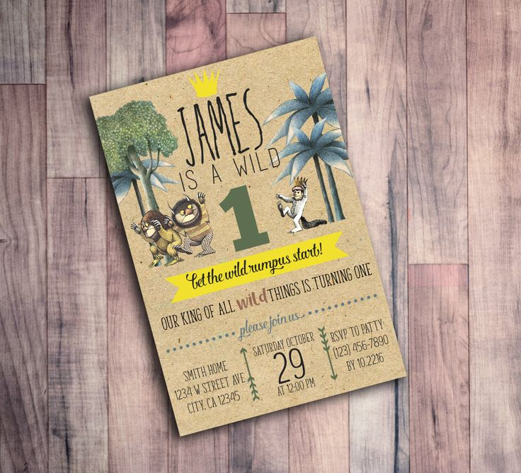 first birthday invitation for my son%0A Where the Wild Things are Birthday Invitation  First Birthday  Wild One     by
