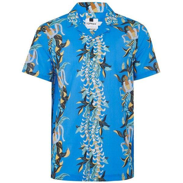 TOPMAN Blue Floral Hawaiian Print Shirt ($38) ❤ liked on Polyvore featuring men's fashion, men's clothing, men's shirts, men's casual shirts, blue, mens floral shirts, mens short sleeve cotton shirts, mens collared shirt, men's hawaiian print shirts and mens blue short sleeve shirt