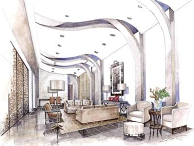Interior lobby rendering by Edwin Rocio.  Placing dark furniture and objects against a light wall background is the best technique to make your interior design sketch or rendering pop and give