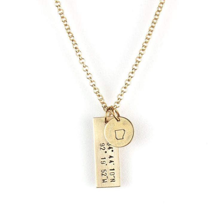 Show your love for a special place with our hand stamped coordinates necklace! A brass bar is stamped with the coordinates of any address in the world! Embellished with a state charm of your choice an