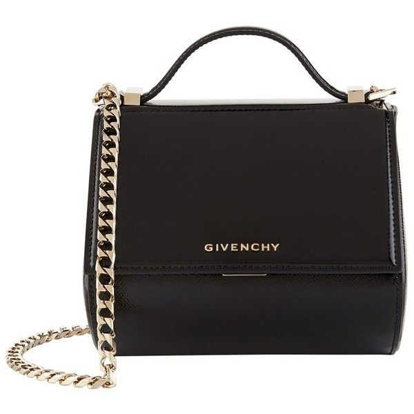 Givenchy Mini Pandora Patent Leather Bag found on Polyvore featuring bags, handbags, shoulder bags, shoulder strap handbags, mini handbags, givenchy handbags, kiss-lock handbags and evening purses