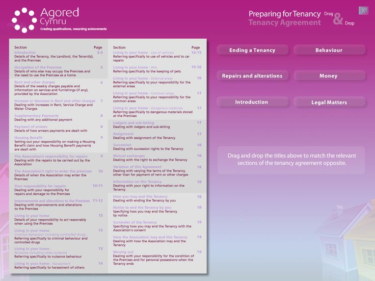 Interactive drag and drop resource activity created by Genieseye, focusing on tenants preparing for tenancy