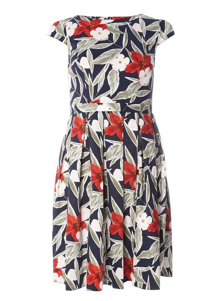Womens Multi Coloured Floral Cotton Fit & Flare Dress- Blue