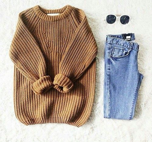 Knit sweater + denim.
