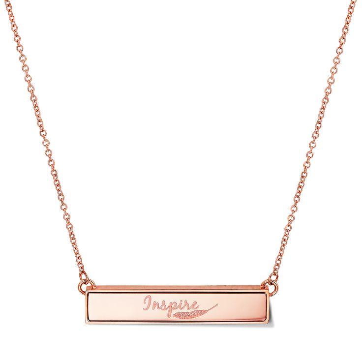 TWYN Bar Necklace Rose Gold Tone