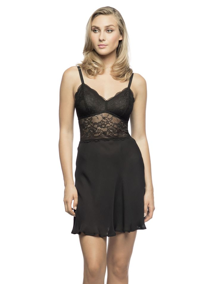 """$198 LBS """"Lolita"""" Longline Slip in Black. Date-night slip for an intimate tete-a-tete!  Filmy silk Georgette flirty skirt topped with a stretch lace long-line bralette lighlty mesh-lined bust insets, satiny elasticized adjustable straps, who needs dessert."""