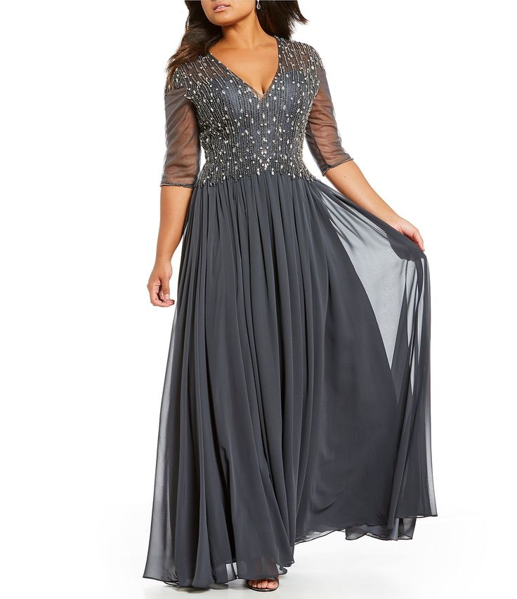 Terani Couture Plus VNeck Beaded Gown #Dillards