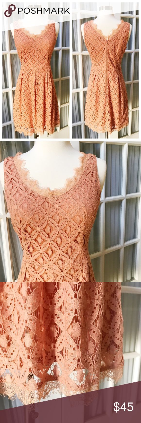 Stunning Muted Peach Lace Dress New with tags lace dress by Altar'd State! Delicate frayed detailing at hem and neckline. Muted peach color perfect for any season! Zipper up back Fits like a 6/8. Altar'd State Dresses