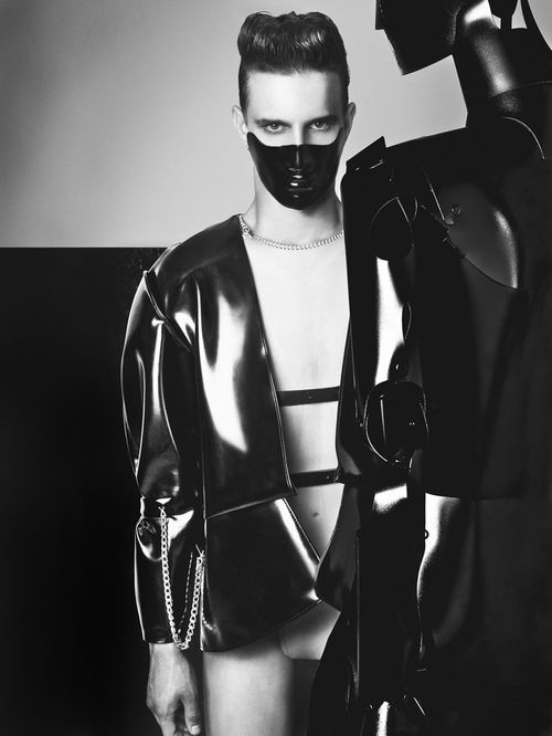black latex jacket from Edmund Ooi XXXXX '11 - pinned by RokStarroad.com