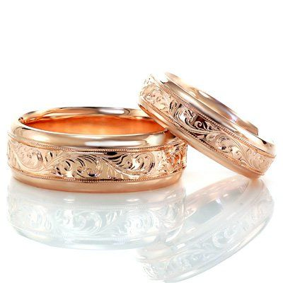 Rose gold his and hers wedding bands