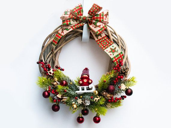 Winter wreath with big bow, Christmas Wreath, Front Door Wreath, Outdoor Wreath