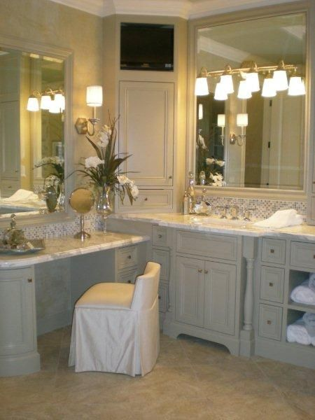 like corner shelf makeup area on one side sinks on other but what - Bathroom Cabinets Corner