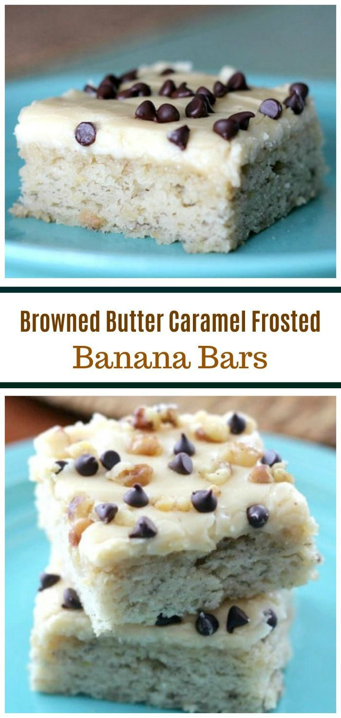 'Winning' Banana Bars {Browned Butter & Caramel Frosting} via @https://www.pinterest.com/BaknChocolaTess/