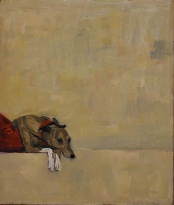 Rodgerson,Jenny Whippet on red cushion No.1 Oil on Board - Oil on panel Image Size: 30 x 25.5cm