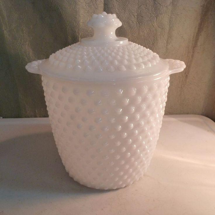 old vintage hobnail milk glass cookie jar lid anchor hocking midcentury read