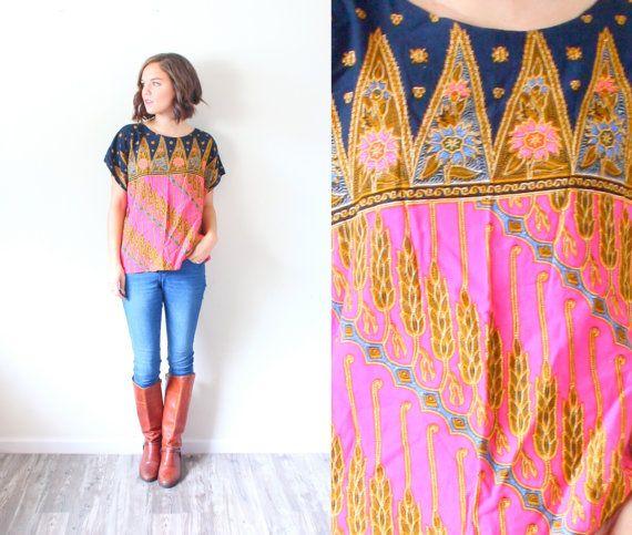 Vintage oversized Boho pink top // boho blouse // slouchy top // slouch shirt // aztec top // tribal print shirt // fall top // southwestern