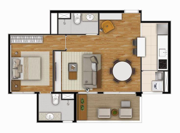 Planta - 1 dormitório - 60m²