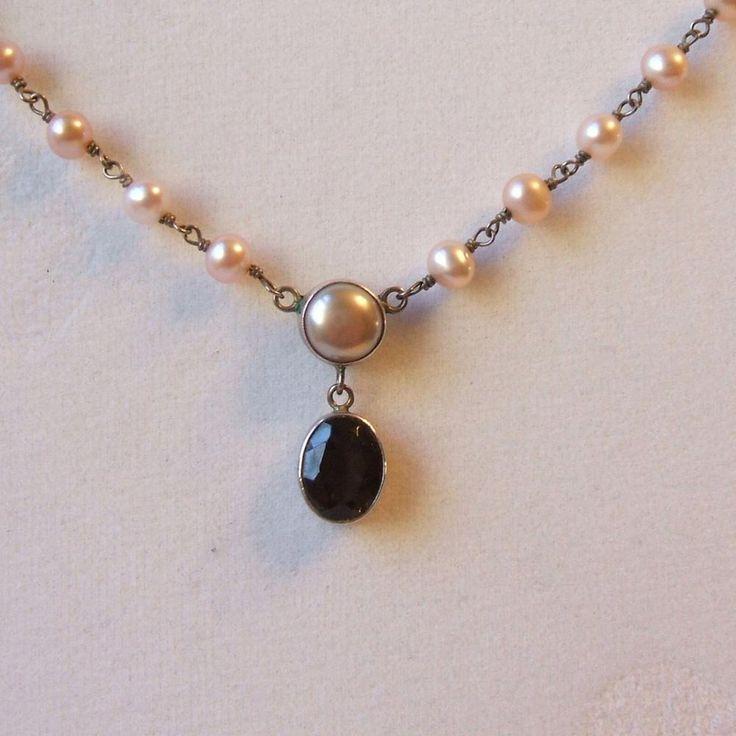 JGDC 925 Sterling Silver Toggle Necklace Faux Pinkish Pearls Smoky Topaz Pendant #JGDC925 #PendantNecklace