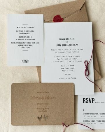 A stationery suite with several special details: cards tied together with twine, a tree wax seal, and a rubber stamped return address