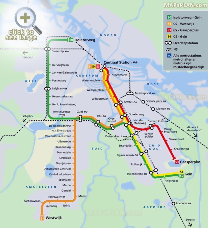 Four metro lines 50 51 53 54 railway Nederlandse Spoorwegen Amsterdam top tourist attractions map