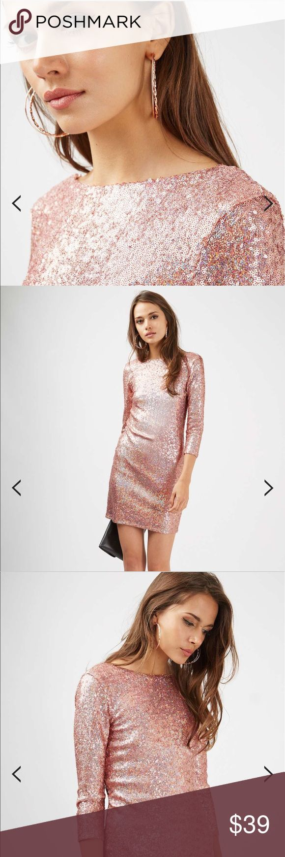 """Topshop Slash Neck Sequin Mini Dress These pictures don't do the dress justice!  Sequins remain a firm favourite for the party set. We love this pink mini dress, with a slash neck and ¾ length sleeves, perfect for transitioning seasons. Wear with metallic heels and an oversized clutch for going-out glamour. 100% Nylon. Approximately 35"""" length.  🚫 No Trades 💯% Authentic  💵 Offers welcome 💰Bundled discount 📦 Ships in 1-2 days Topshop Dresses Mini"""