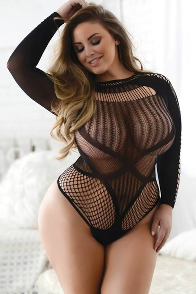 ef6fb110a0c Ladies plus size faux lace-up long sleeve romper bodystocking ...