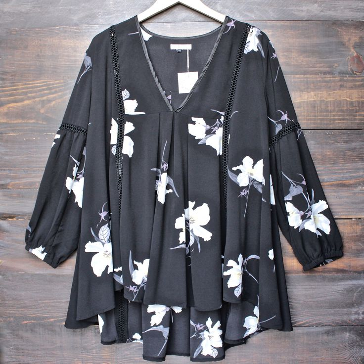 hazel the label - tahiti baby doll floral tunic dress with lace inset