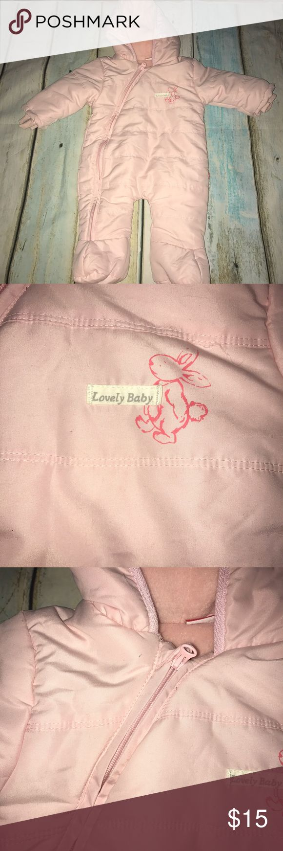 Lovely Baby Pink 3-6 months snow suit jacket Gently used. Worn twice. Jackets & Coats