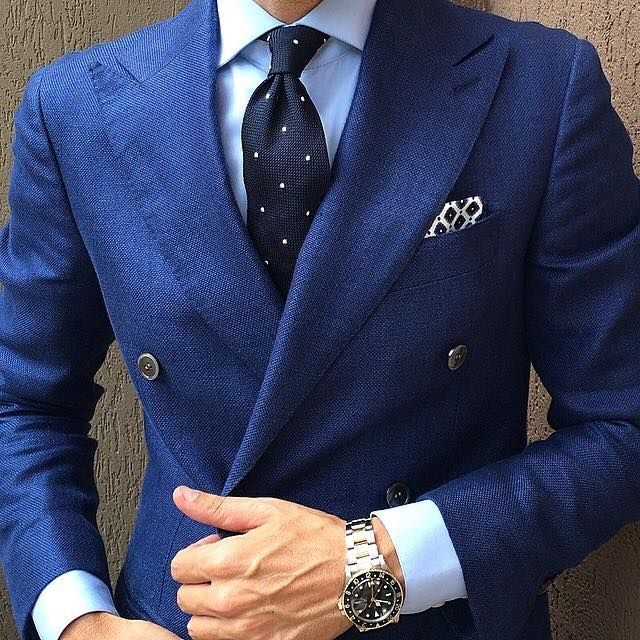 Navy Suit #fashion&#style. The silver watch just adds class to this whole ensemble.