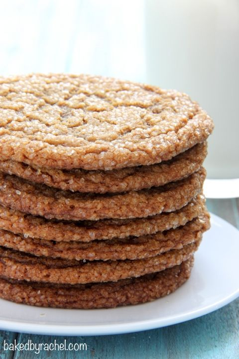 Thin and chewy gingersnap crinkle cookie recipe from /bakedbyrachel/
