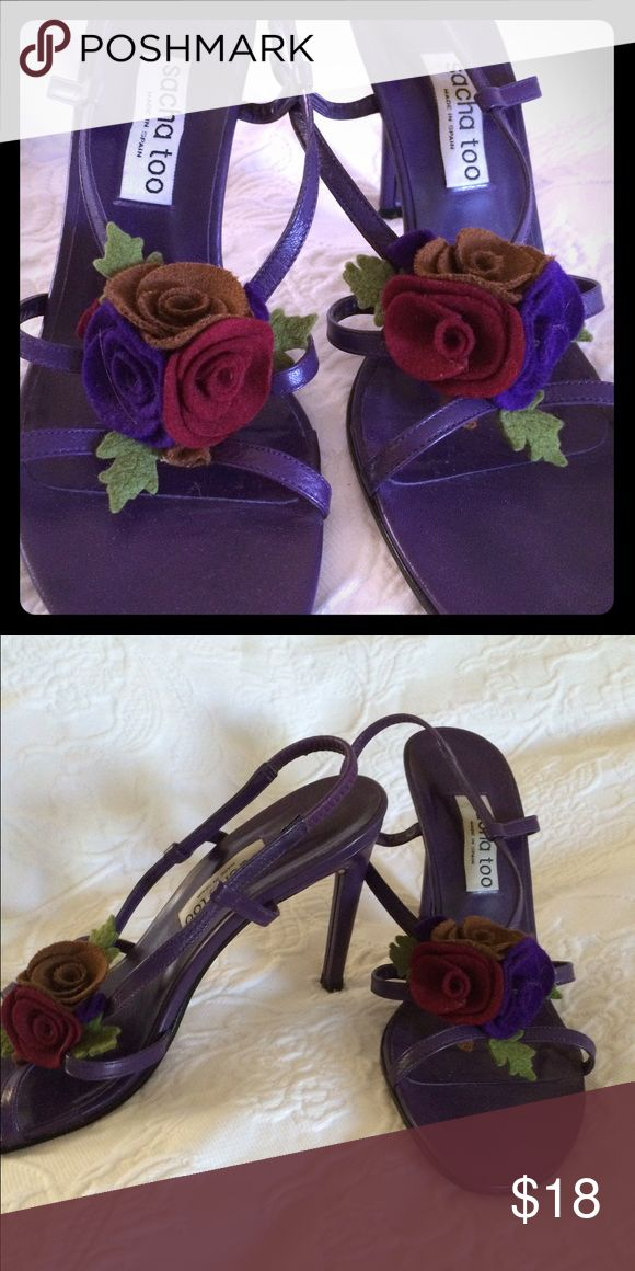 """Sacha Too purple heeled sandals size 9 Sacha Too heeled sandals in purple leather with felt flower trim. Size 9. Very """"Carrie Bradshaw"""" 😍. Heel is 4 inches. Sacha too Shoes Heels"""