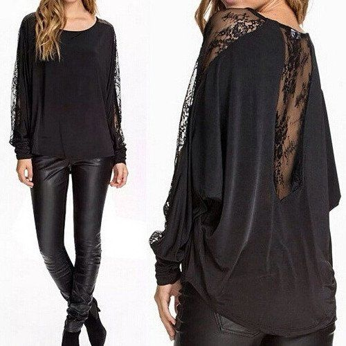 Back Lace Black Long Sleeve Blouse