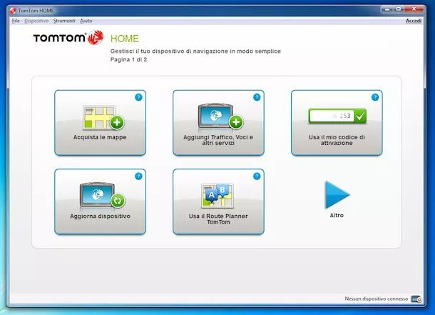 Screenshot del software TomTom Home per aggiornare TomTom