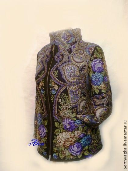Куртка Синий иней из ПП платка - тёмно-синий,орнамент,павловопосадский платок