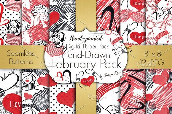 February Digital Papers Pack by Tanya Kart on @creativemarket